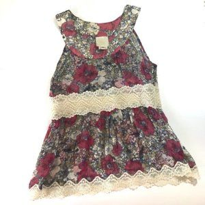 Anna Sui Anthropologie XS Floral Blouse Laced